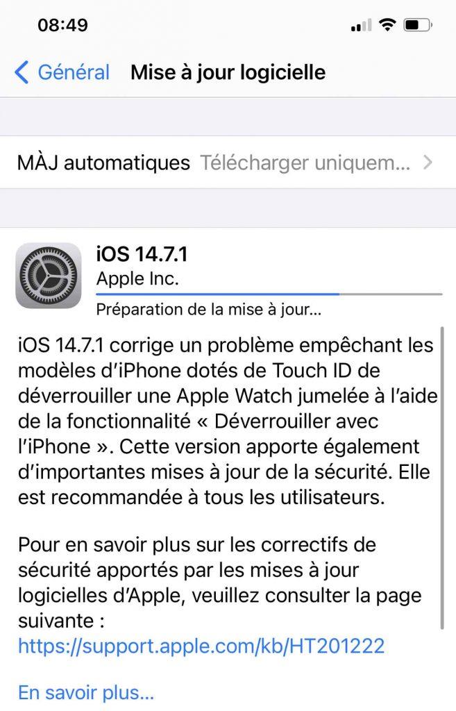 Mise à jour iOS 14.7.1