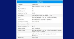 Processeur Intel Core i9-12900K sous PassMark