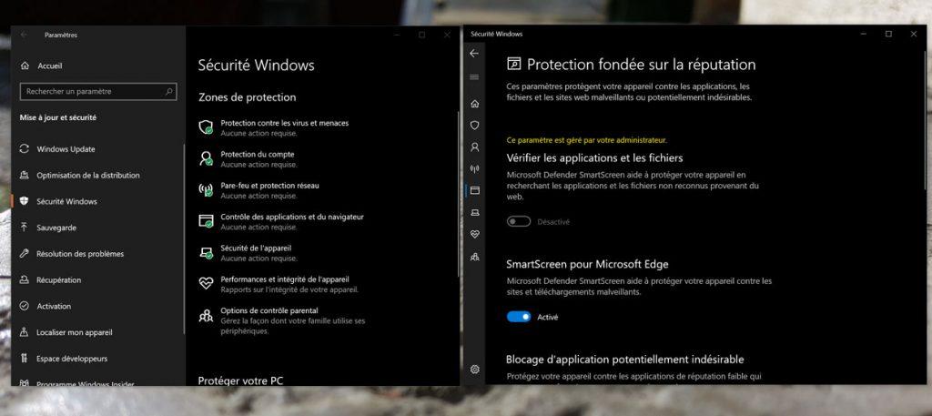 Windows 10 et la protection fondée sur la réputation