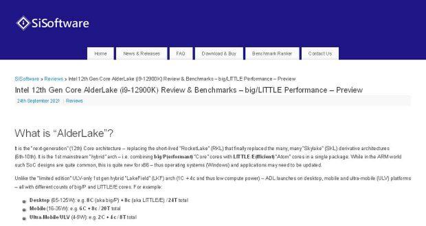 SiSoftware publie quelques résultats de performance du prochain Core i9-12900K d'Intel.