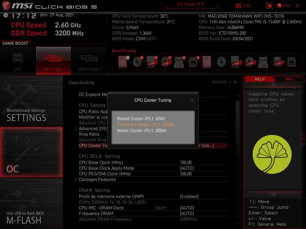 Core i5-11400F (Configuration du PL)