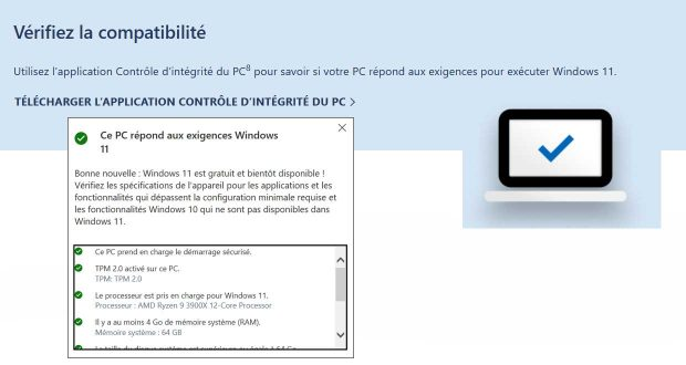 Windows 11 et PC Health Check