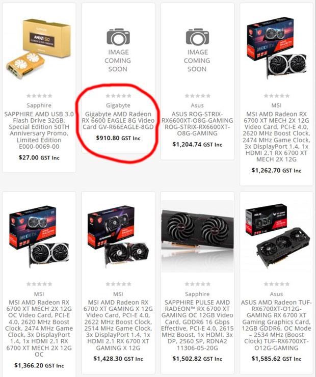 La Radeon RX 6600 Eagle de Gigabyte