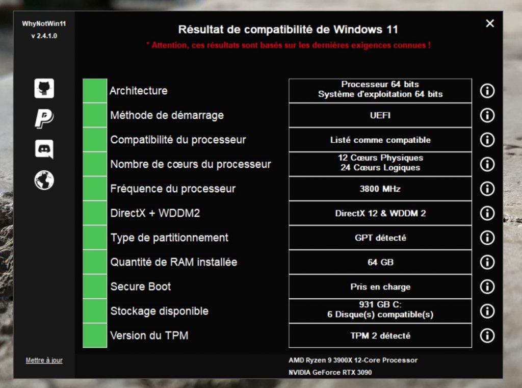 """Windows 11 et l'utilitaire """" WhyNotWin11 """""""