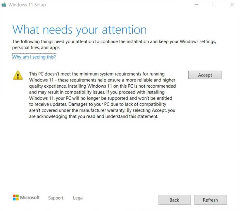 Windows 11 - Notification sur le PC est non pris en charge