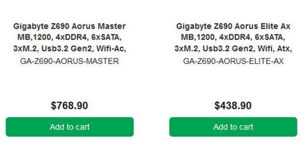 Cartes mères Gigabyte Z690 Aorus Master et Z690 Aorus Elite AX chez un détaillant australien.
