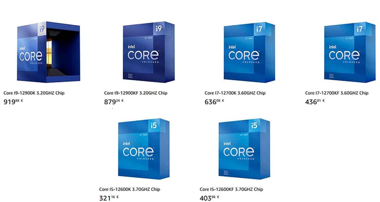Processeurs Intel Alder Lake-S - Prix en euros