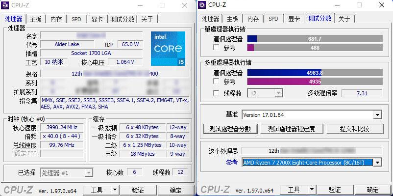 Core i5-12400 sous CPU-Z