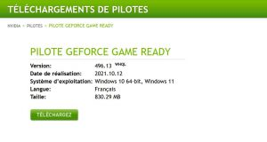 Pilotes graphiques GeForce 496.13 WHQL Game Ready de Nvidia