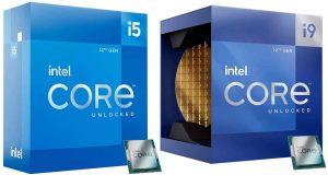 Core i9-12900K et Core i5-12600K, boites d'emballage