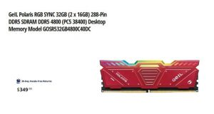 GeIL Polaris RGB SYNC 32GB (2 x 16GB) 288-Pin DDR5 SDRAM DDR5 4800 (PC5 38400)