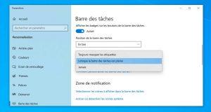 Windows 10 et l'option « Combiner les boutons » de la barre des tâches.