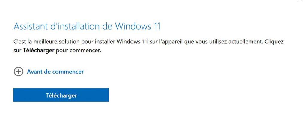 Assistant d'installation de Windows 11