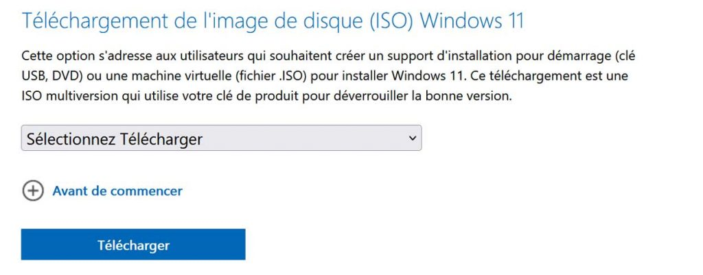 Téléchargement de l'image de disque (ISO) Windows 11