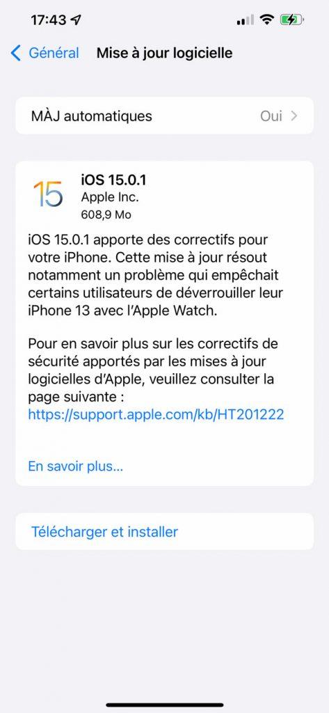 iOS 15.0.1 d'Apple